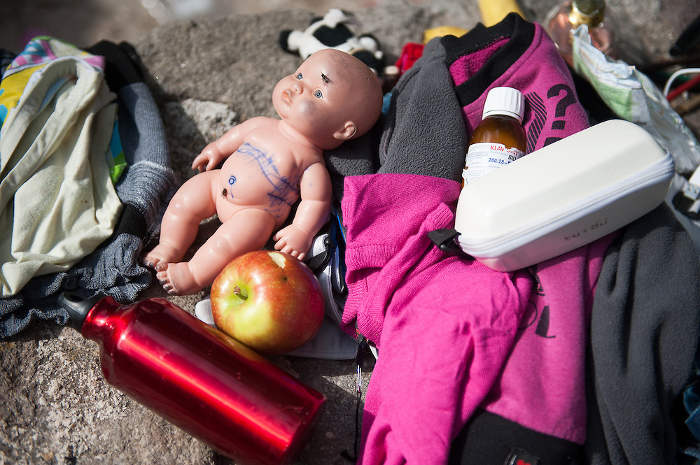 Refugees possessions left to dry under the sun in Skala Sykamias, Lesvos, Greece