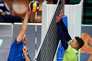 Katowice, Poland - 2017 September 03: (L) Partner  Jukka Lehti from SO Finland spikes the ball while final match between SO Russia and SO Finland during European Unified Volleyball Tournament 2017 at Spodek Hall on September 03, 2017 in Katowice, Poland.<br /> <br /> Adam Nurkiewicz declares that he has no rights to the image of people at the photographs of his authorship.<br /> <br /> Picture also available in RAW (NEF) or TIFF format on special request.<br /> <br /> Any editorial, commercial or promotional use requires written permission from the author of image.<br /> <br /> Image can be used in the press when the method of use and the signature does not hurt people on the picture.<br /> <br /> Mandatory credit:<br /> Photo by © Adam Nurkiewicz / Mediasport