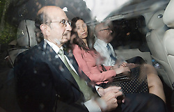 © licensed to London News Pictures. 19/07/2011. London, UK. L to R - Joel Klein (man appointed by Rupert Murdoch to help oversee the investigation into allegations of phone hacking),  Wendi Deng (wife of Rupert Murdoch) and Rupert Murdoch leaving Portcullis house in London today (19/07/2011) after giving evidence in front of the Culture, Media and Sport Committee in relation to the News Of The World phone hacking scandal. Photo credit should read Ben Cawthra/LNP