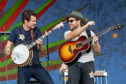 May 3, 2018 - New Orleans, Louisiana, U.S - KETCH SECOR and CHANCE MCCOY of Old Crow Medicine Show during 2018 New Orleans Jazz and Heritage Festival at Race Course Fair Grounds in New Orleans, Louisiana (Credit Image: © Daniel DeSlover via ZUMA Wire)