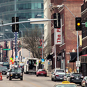 Looking up Main Street in downtown Kansas City