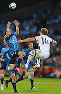 PRETORIA, South Africa, 14 May 2011. Bjorn Basson of the Bulls wins control of the ball in the air from Lachlan Mitchell of the Melbourne Rebels during the Super15 Rugby match between the Bulls and the Melbourne Rebels at Loftus Versfeld in Pretoria, South Africa on 14 May 2011..Photographer : Anton de Villiers / SPORTZPICS