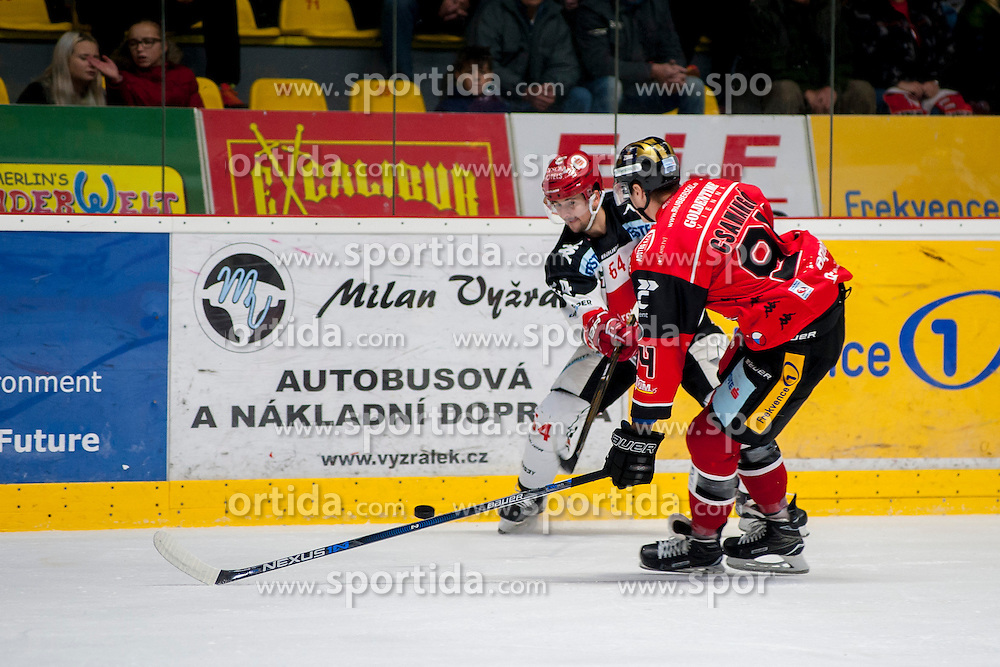 23.10.2016, Ice Rink, Znojmo, CZE, EBEL, HC Orli Znojmo vs HC TWK Innsbruck Die Haie, 13. Runde, im Bild v.l. Ondrej Sedivy (HC TWK Innsbruck) Stepan Csamango (HC Orli Znojmo) // during the Erste Bank Icehockey League 13th round match between HC Orli Znojmo and HC TWK Innsbruck Die Haie at the Ice Rink in Znojmo, Czech Republic on 2016/10/23. EXPA Pictures © 2016, PhotoCredit: EXPA/ Rostislav Pfeffer