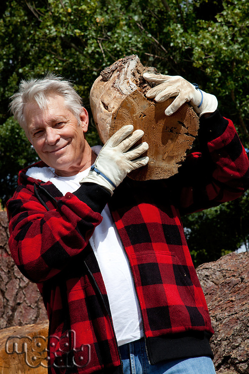 Senior man carrying firewood over his shoulders