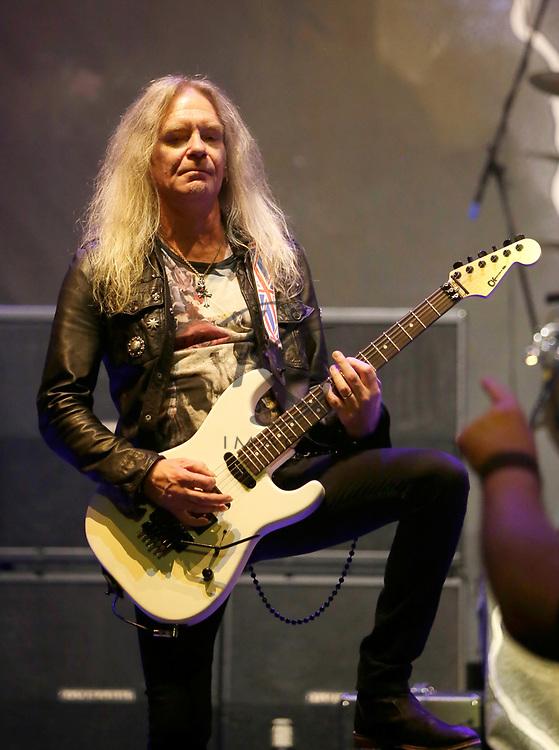 Doug Scarratt of Saxon performs on Tuesday, April 24, 2018, in Phoenix, Arizona. (AP Images/Rick Scuteri)