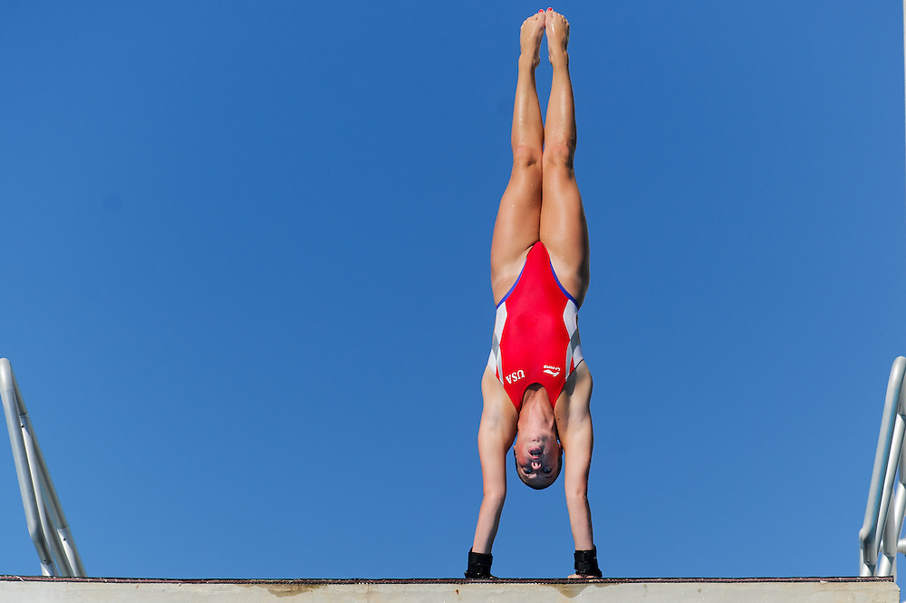 Tallahassee, FL - July 21:  Numerous divers from around the US compete in the US DIving Southeast Regioinal Championship in 10M platform competition at Morcom Aquatic Center in Tallahassee Florida on July 21, 2013.