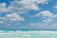 Kite surfing in Cancun, Mexico.
