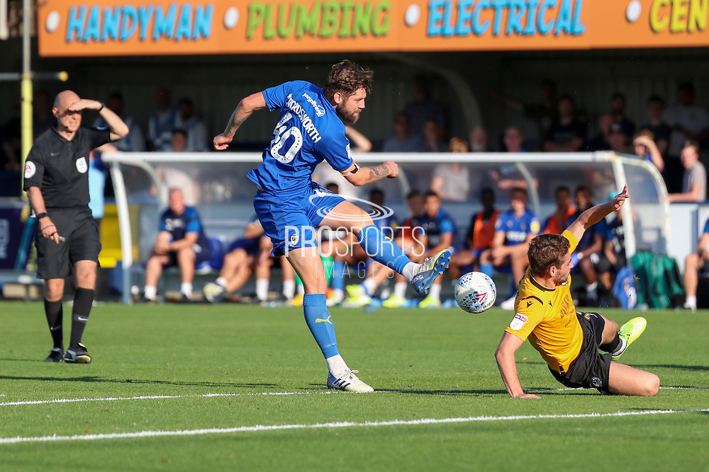 AFC Wimbledon midfielder Anthony Wordsworth (40) with a shot on goal during the EFL Sky Bet League 1 match between AFC Wimbledon and Bristol Rovers at the Cherry Red Records Stadium, Kingston, England on 21 September 2019.