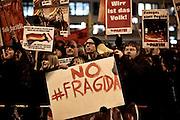 Frankfurt am Main | 09 Feb 2015<br /> <br /> Am Montag (09.02.2015) demonstrierte bereits zum dritten Mal die islamfeindliche und rassistische Gruppierung PEGIDA (Patrioden gegen die Islamisierung des Abendlandes) unter F&uuml;hrung der Frankfurterin Heidi Mund und in Gegenwart des Neonazis und Vorsitzenden der NPD Hessen, Stefan Jagsch, an der Katharinenkirche in Frankfurt am Main, PEGIDA konnte etwa 100 Demonstranten mobilisieren. An den Gegendemos nahmen etwa 1000 Menschen teil.<br /> Hier: Gegendemo mit &quot;No Fragida&quot;-Transparent.<br /> <br /> &copy;peter-juelich.com<br /> <br /> [No Model Release | No Property Release]