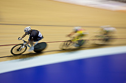 © Licensed to London News Pictures. 19/02/2011. The final lap of the Women's Omnium, elimination Race. UCI Track Cycling World Cup at Manchester this evening (19/02/2011). Photo credit should read: Reuben Tabner/LNP