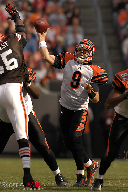 Nov. 26, 2006; Cleveland, OH, USA; Cincinatti Bengals quarterback (9) Carson Palmer in action during the first half of the Bengals game against the Cleveland Browns at Cleveland Browns Stadium. ©2006 Scott A. Miller