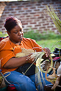 Gullah sweetgrass basket weaver at Boone Hall Plantation in Charleston, SC.