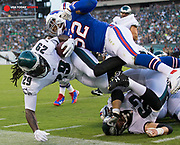 Aug 17, 2017; Philadelphia, PA, USA; Philadelphia Eagles running back LeGarrette Blount (29) is tackled by Buffalo Bills linebacker Preston Brown (52) during the first quarter at Lincoln Financial Field. Mandatory Credit: Bill Streicher-USA TODAY Sports