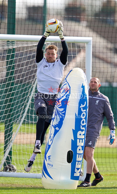 LIVERPOOL, ENGLAND - Wednesday, April 13, 2016: Liverpool's goalkeeper Simon Mignolet during a training session at Melwood Training Ground ahead of the UEFA Europa League Quarter-Final 2nd Leg match against Borussia Dortmund. (Pic by David Rawcliffe/Propaganda)