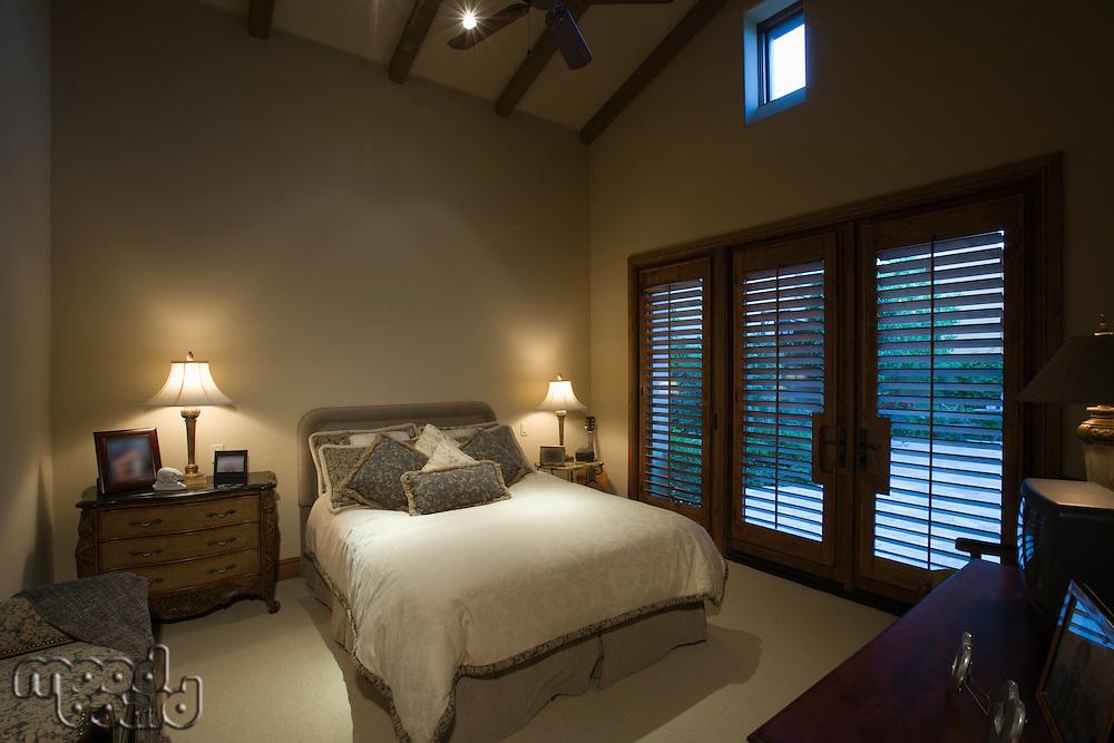 Palm Springs bedroom at dusk