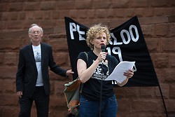 © Licensed to London News Pictures . 14/08/2016 . Manchester , UK . MAXINE PEAKE reads out the name of some who died . A memorial on the site of The Peterloo Massacre ( formerly St Peter's Field , now the Manchester Central Convention Centre ) , attended by Maxine Peake and Paul Mason . On 16th August 1819 , a rally calling for Parliamentary reform , improved workers rights and against poverty was brutally suppressed by sabre-wielding cavalrymen , resulting in the deaths of fifteen people and many hundreds injured . Photo credit : Joel Goodman/LNP