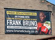 Banner poster advertising event with former WBC heavyweight champion boxer Frank Bruno, Melksham, England, UK