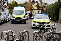 © Licensed to London News Pictures. 22/09/2019. London, UK. The scene outside a cafe and a restaurant on Langham Road in North London near Turnpike Lane underground and bus station where three men were stabbed and rushed to hospital. Met police were call shortly after 4pm this afternoon to Langham Road and found three men suffering from stab wounds. According to the Met Police, two men have been arrested on suspicion of GBH. Photo credit: Dinendra Haria/LNP