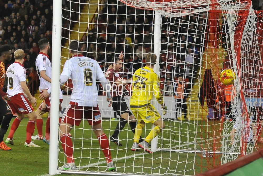Bradford City midfielder Gary Liddle scores for  bradford to make it 3-1  during the Sky Bet League 1 match between Sheffield Utd and Bradford City at Bramall Lane, Sheffield, England on 28 December 2015. Photo by Ian Lyall.