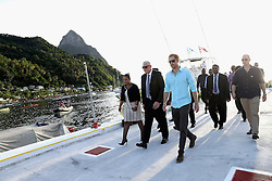 Prince Harry during a St Lucian street festival in Soufriere on the island of St Lucia during the second leg of his Caribbean tour.