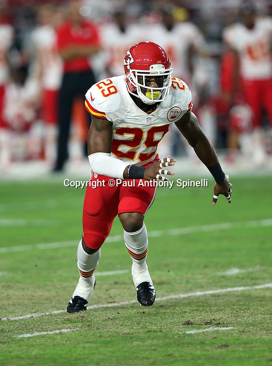 Kansas City Chiefs strong safety Eric Berry (29) chases the action during the 2015 NFL preseason football game against the Arizona Cardinals on Saturday, Aug. 15, 2015 in Glendale, Ariz. The Chiefs won the game 34-19. (©Paul Anthony Spinelli)