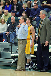 21 February 2017:  Grey Giovanine calls for a 30 second time out during an College men's division 3 CCIW basketball game between the Augustana Vikings and the Illinois Wesleyan Titans in Shirk Center, Bloomington IL