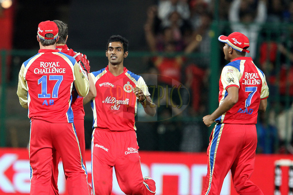 RCB celebrate the wicket of Davy Jacobs during match 8 of the the Indian Premier League ( IPL ) Season 4 between the Royal Challengers Bangalore and the Mumbai Indians held at the Chinnaswamy Stadium, Bangalore, Karnataka, India on the 12th April 2011..Photo by Ron Gaunt/BCCI/SPORTZPICS