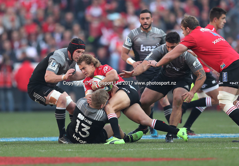 Andries Coetzee of the Lions tackled by Jack Goodhue of the Crusaders during the 2017 Super Rugby Final between the Lions and Crusaders at Ellis Park, Johannesburg on 05 August 2017 ©Gavin Barker/BackpagePix / www.photosport.nz