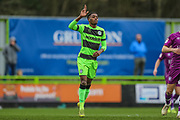 Forest Green Rovers Reece Brown(10) scores a goal 1-0 and celebrates during the EFL Sky Bet League 2 match between Forest Green Rovers and Carlisle United at the New Lawn, Forest Green, United Kingdom on 16 March 2019.