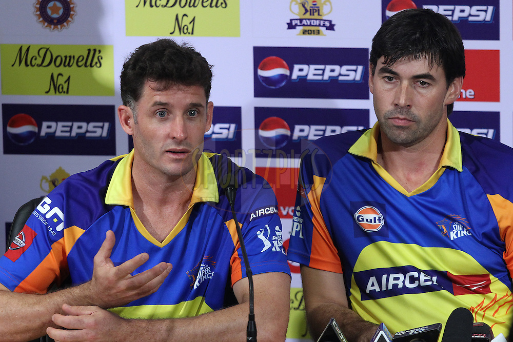 Michael Hussey and Stephen Fleming address the media during the pre-final press conference of the Pepsi Indian Premier League held at the Eden Gardens Stadium in Kolkata on the 25th May 2013..Photo by Ron Gaunt-IPL-SPORTZPICS      ..Use of this image is subject to the terms and conditions as outlined by the BCCI. These terms can be found by following this link:..http://www.sportzpics.co.za/image/I0000SoRagM2cIEc