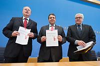 """15 MAY 2012, BERLIN/GERMANY:<br /> Peer Steinbrueck (L), SPD, Bundesminister a.D., Sigmar Gabriel (M), SPD Parteivorsitzender, Frank-Walter Steinmeier (R), SPD Fraktionsvorsitzender, mit Ihrem gemeinsamen Papier, nach der Pressekonferenz zum Thema """" Der Weg aus der Krise – Wachstum und Beschäftigung in Europa"""", Bundespressekonferenz<br /> IMAGE: 20120515-01-054<br /> KEYWORDS: Peer Steinbrück"""