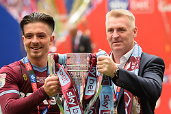 May 27, 2019 - London, England, United Kingdom - Jack Grealish (10) of Aston Villa and Aston Villa Manager Dean Smith hold the trophy during the Sky Bet Championship match between Aston Villa and Derby County at Wembley Stadium, London on Monday 27th May 2019. (Credit: Jon Hobley | MI News) (Credit Image: © Mi News/NurPhoto via ZUMA Press)