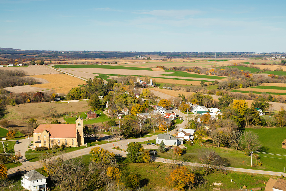 Aerial photograph of Daleyville, Wisconsin on a beautiful autumn day.