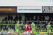 Lister United Ad board during the EFL Sky Bet League 2 match between Forest Green Rovers and Walsall at the New Lawn, Forest Green, United Kingdom on 8 February 2020.