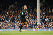 Wolverhampton Wanderers goalkeeper Carl Ikeme (1) celebrates Wolverhampton Wanderers midfielder Ricardo Ivan Cavaleiro (50) goal (score 0-1) during the EFL Sky Bet Championship match between Fulham and Wolverhampton Wanderers at Craven Cottage, London, England on 18 March 2017. Photo by Andy Walter.