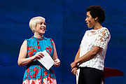 Hosts Helen Walters and Whitney Pennington Rodgers speak at TED2019: Bigger Than Us. April 15 - 19, 2019, Vancouver, BC, Canada. Photo: Bret Hartman / TED