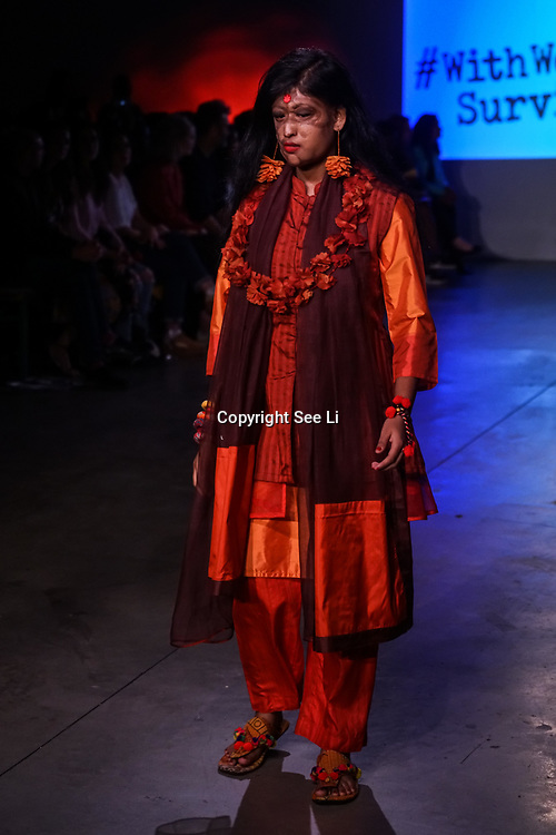 U Block 146 Brick Lane, London, UK. 10th October, 2017. A host of celebrities attend the  ActionAid Survivors Runway - fashion show showcase the inner strength and dignity of survivors who have had the courage to speak out against gender-based violence.