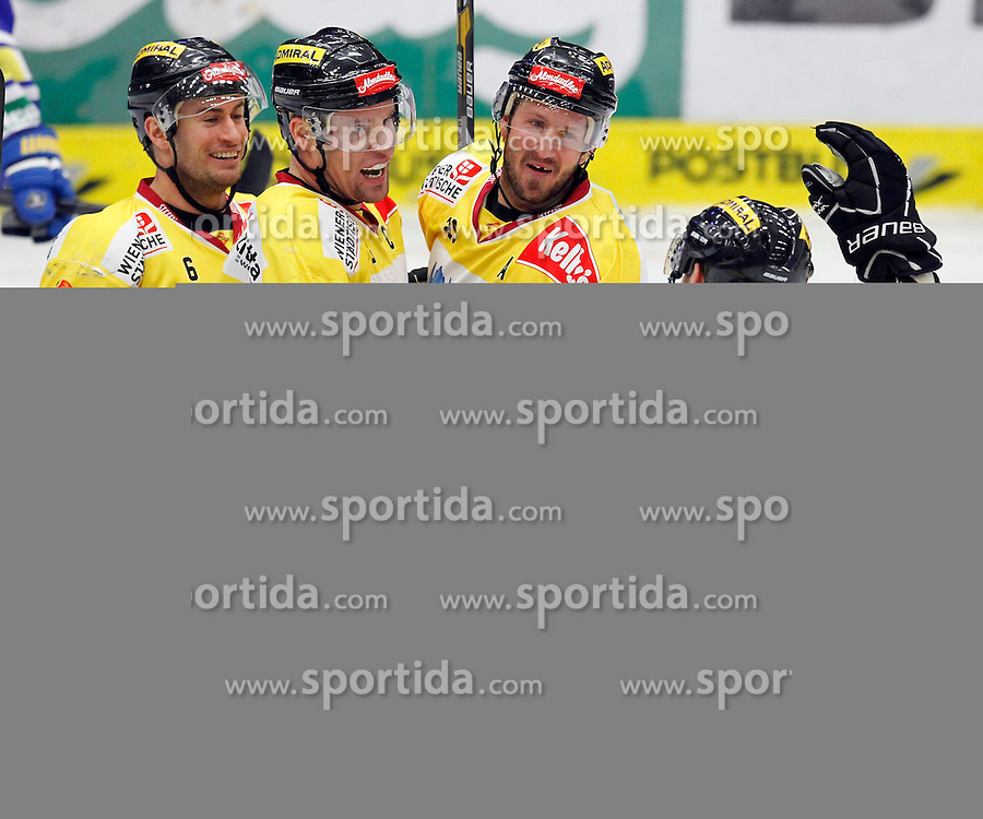 28.02. 2014, Stadthalle, Villach, AUT, EBEL, EC VSV vs UPC Vienna Capitals, 9. Plazierungsrunde, im Bild der Jubel der Capitals // during the Erste Bank Icehockey League 9. Placing round between EC VSV vs UPC Vienna Capitals at the City Hall, Villach, Austria, 2014/02/28, EXPA Pictures © 2014, PhotoCredit: EXPA/ Oskar Hoeher