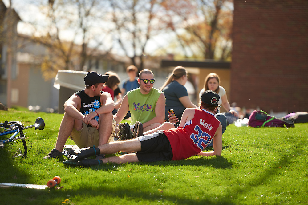 People; Student Students; Activity; Eating; Drake Field; Location; Outside; Socializing; Time/Weather; day; Type of Photography; Candid; UWL UW-L UW-La Crosse University of Wisconsin-La Crosse; Spring; April