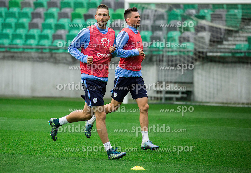 Tim Matavz and Andraz Kirm during practice session of Slovenian National Football team two days before Euro 2016 Qualifying game between Slovenia and Lithuania, on October 7, 2015 in SRC Stozice, Ljubljana Slovenia. Photo by Vid Ponikvar / Sportida