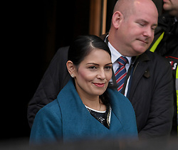 Home Secretary Priti Patel leaves her hotel on the first day of the Conservative Party conference in Manchester<br /> <br /> © Dave Johnston / EEm