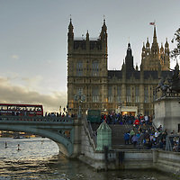 View of the Parliament, Westminster Bridge and river Thames from Victoria Enbankment, London<br />