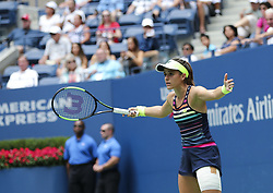 NEW YORK, Sept. 1, 2017  Nicole Gibbs of the United States reacts during the women's singles second round match against Karolina Pliskova of the Czech Republic at the 2017 U.S. Open in New York, the United States, Aug. 31, 2017. Nicole Gibbs lost 1-2. (Credit Image: © Wang Ying/Xinhua via ZUMA Wire)