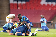 Wycombe Wanderers players celebrates at full time during the EFL Sky Bet League 1 Play Off Final match between Oxford United and Wycombe Wanderers at Wembley Stadium, London, England on 13 July 2020.