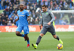 December 15, 2018 - Getafe, Madrid, Spain - Theo Hernandez of Real Sociedad and Foulquier of Getafe in action during La Liga Spanish championship, , football match between Getafe and Real Sociedad, December 15, in Coliseum Alfonso Perez in Getafe, Madrid, Spain. (Credit Image: © AFP7 via ZUMA Wire)