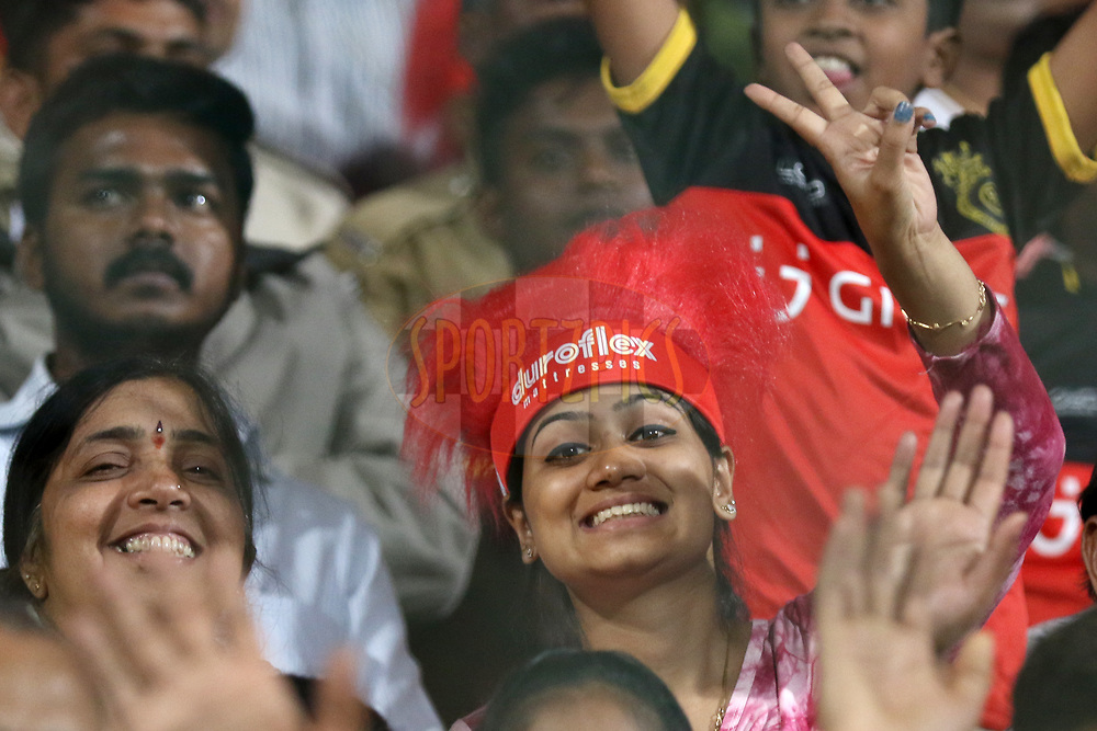 Fans during match 5 of the Vivo 2017 Indian Premier League between the Royal Challengers Bangalore and the Delhi Daredevils held at the M.Chinnaswamy Stadium in Bangalore, India on the 8th April 2017<br /> <br /> Photo by Faheem Hussain - IPL - Sportzpics