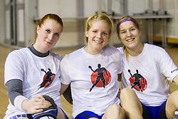 Lina Krhlikar, Neza Mitrusevska and Maja Zrnec during practice session of Slovenian Women handball National Team three days before match against Serbia, on October 24, 2013 in Arena Tivoli, Ljubljana, Slovenia. (Photo by Vid Ponikvar / Sportida)