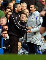 Photo: Leigh Quinnell.<br /> Chelsea v Norwich City. The FA Cup. 17/02/2007.<br /> Chelsea boss Jose Mourinho has to be held back by the fourth offical after being unhappy with a decision.