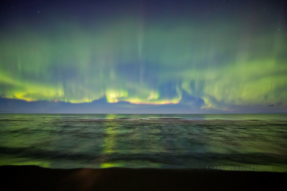 waves of light, moonlit summer night  over Lake Superior