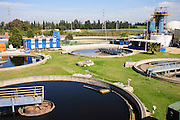 Sewerage treatment facility. The treated water is then used for irrigation and agricultural use. Photographed near Hadera, Israel